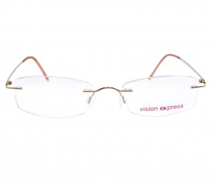 Rimless Titanium Rectangle Gold Medium Vision Express 11915 Eyeglasses