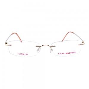 Rimless Titanium Rectangle Gold Medium Vision Express 11915 Eyeglasses