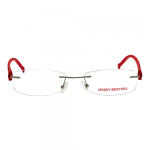 Rimless Metal Rectangle Silver Medium Vision Express 28945 Eyeglasses