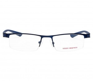 Half Rim Metal Rectangle Blue Medium Vision Express 28985 Eyeglasses