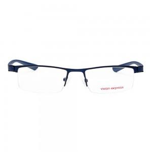 Half Rim Metal Rectangle Blue Medium Vision Express 28985 Eyeglasses