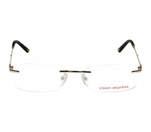 Blue Shield (Zero Power) Computer Glasses: Rimless Rectangle Gold Metal Men Small 11993