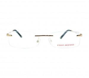 Rimless Metal Rectangle Gold Medium Vision Express 11993 Eyeglasses