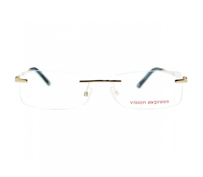 Rimless Metal Rectangle Gold Medium Vision Express 11993 Eyeglasses