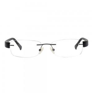 Rimless Metal Rectangle Black Medium Vision Express 29175 Eyeglasses