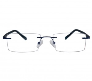 Rimless Metal Rectangle Blue Medium Vision Express 29176 Eyeglasses