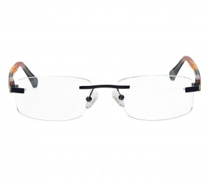 Rimless Metal Rectangle Black Medium Vision Express 48957 Eyeglasses
