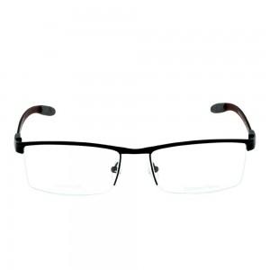 Half Rim Stainless Steel Rectangle Black Large Julius 38169 Eyeglasses