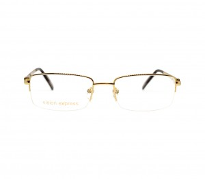 Half Rim Gold Plated Square Gold Medium Vision Express 12013 Eyeglasses