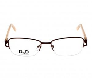 Blue Shield (Zero Power) Computer Glasses: Half Rim Rectangle Brown Metal Small DBAF19