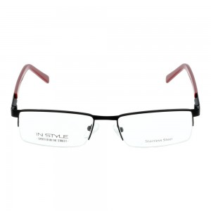 Half Rim Stainless Steel Rectangle Black Medium In Style ISAM33 Eyeglasses