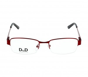 Half Rim Monel Rectangle Red Medium DbyD DYF34 Eyeglasses