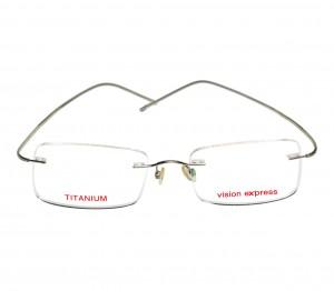 Rimless Titanium Rectangle Green Men Small Vision Express L1A1MT Eyeglasses