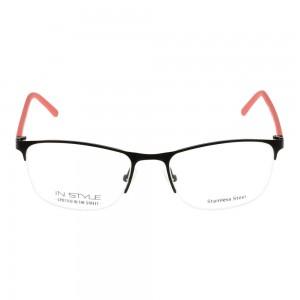 Half Rim Metal Rectangle Black Small In Style ISCF06 Eyeglasses