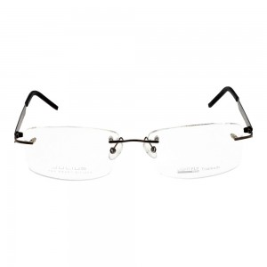Rimless Metal Rectangle Gun Metal Large Light Fly JUAM01 Eyeglasses