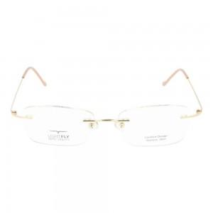 Rimless Stainless Steel Rectangle Pink Medium Light Fly LFBF61 Eyeglasses