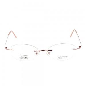 Rimless Stainless Steel Round Pink Medium Light Fly LFBF60 Eyeglasses