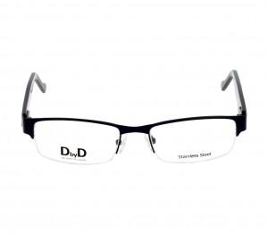 Half Rim Stainless Steel Rectangle Black Medium DbyD DBAM33 Eyeglasses