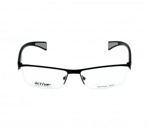 Full Rim Stainless Steel Rectangle Black Large Activ URB24 Eyeglasses