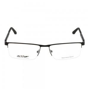 Half Rim Stainless Steel Rectangle Black Large Activ ACDM08 Eyeglasses