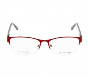 Half Rim Stainless Steel Round Red Medium Miki Ninn MNCF39 Eyeglasses