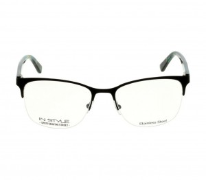 Half Rim Stainless Steel Square Black Medium In Style ISDF10 Eyeglasses