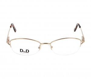 Half Rim Stainless Steel Rectangle Gold Medium DbyD DYF12 Eyeglasses