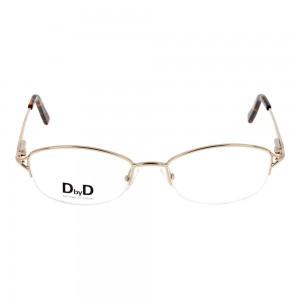 Half Rim Stainless Steel Rectangle Gold Medium DbyD DYF12 Eyeglasses