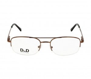 Half Rim Stainless Steel Rectangle Brown Medium DbyD DYH01 Eyeglasses