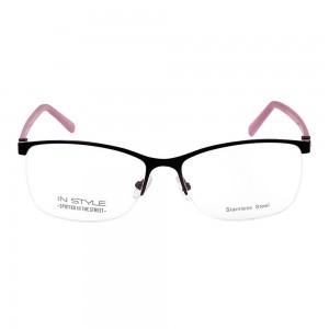 Half Rim Metal Rectangle Blue Large In Style ISBF37 Eyeglasses