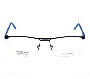Half Rim Metal Rectangle Blue Large In Style ISCM08 Eyeglasses