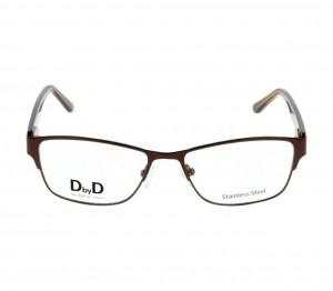 Full Rim Stainless Steel Rectangle Brown Medium DbyD DBAF30 Eyeglasses
