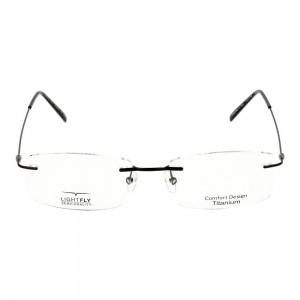 Rimless Titanium Rectangle Black Medium Light Fly LFBM21 Eyeglasses
