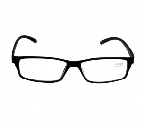 Black Rectangle (+1.25 Power) Polycarbonate Unisex Medium HFDM01BL Reading Glasses
