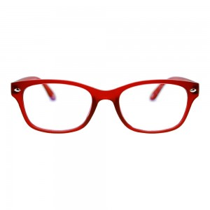 Blue Shield (+3.0 Power) Computer Glasses: Full Rim Rectangle Red Polycarbonate Women Medium HFCU08RD