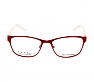 Full Rim Stainless Steel Almond Red Medium Miki Ninn MNAF57 Eyeglasses