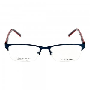 Half Rim Stainless Steel Rectangle Blue Small Miki Ninn MNBM10 Eyeglasses