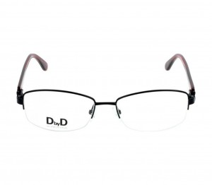 Half Rim Monel Almond Black Medium DbyD DBCF07 Eyeglasses