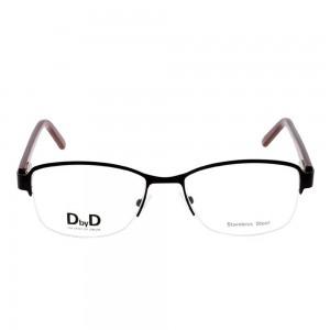 Half Rim Stainless Steel Rectangle Black Medium DbyD DBEF01 Eyeglasses