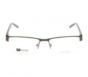Half Rim Stainless Steel Rectangle Grey Large 5th Avenue FACM34 Eyeglasses