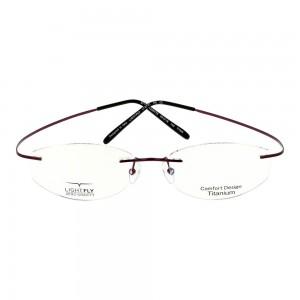 Rimless Titanium Round Red Women Small Light Fly LFEF01 Eyeglasses