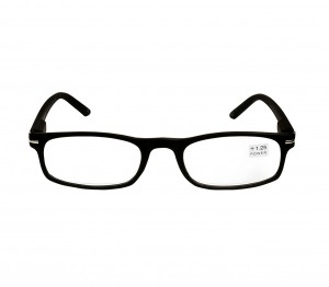 Black Rectangle (+1.25 Power) Polycarbonate Unisex Medium HFDU02BL Reading Glasses