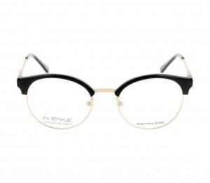 Full Rim Stainless Steel Round Black Medium In Style ISFF30 Eyeglasses