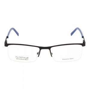 Half Rim Stainless Steel Rectangle Blue Large In Style ISFM11 Eyeglasses