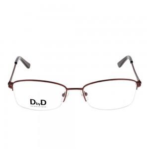 Half Rim Monel Rectangle Brown Medium DbyD DBFF02 Eyeglasses