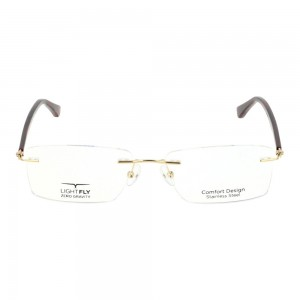 Rimless Stainless Steel Rectangle Gold Large Light Fly LFDM32 Eyeglasses