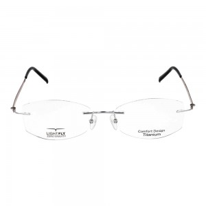 Rimless Metal Rectangle Silver Small Light Fly LFDF06 Eyeglasses