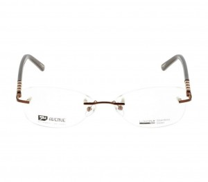 Rimless Metal Round Brown Medium Light Fly LFDF14 Eyeglasses