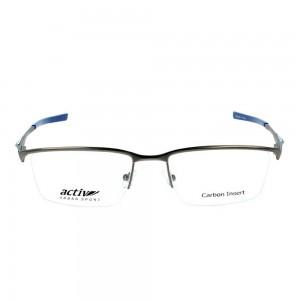 Half Rim Monel Rectangle Grey Large Activ ACDM01 Eyeglasses