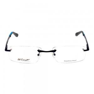 Rimless Metal Rectangle Blue Large Activ ACFM04 Eyeglasses
